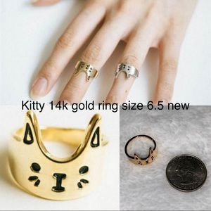 3/$15 Boutique 14k gold kitty ring size 6.5 new